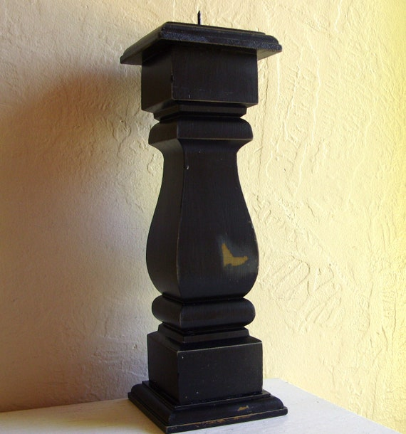 Tall Distressed Black Wood Architectural Pedestal Candle Holder