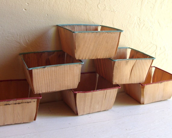 Wood Berry Baskets Small Wooden Garden Containers Enameled Steel Rims