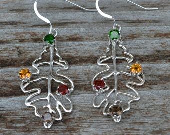 Autumn Earrings in Sterling Silver and Gemstones Oak Leaf