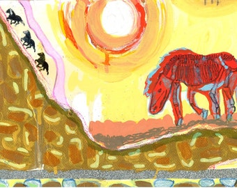 Art Print - Icelandic For Sun:  Folk Art Illustration with Skeleton Horse