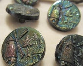 Victorian Black Aurora Borealis Glass Shank Back Buttons Set of 10 with Windmill Scene