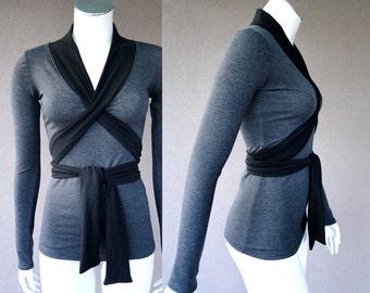 Faux wrap top, handmade organic women's clothing, made in Canada, organic wrap top, grey sweatshirt