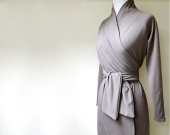 Organic wrap dress with shawl collar , handmade in Canada women's clothes, grey wrap dress, organic cotton clothes