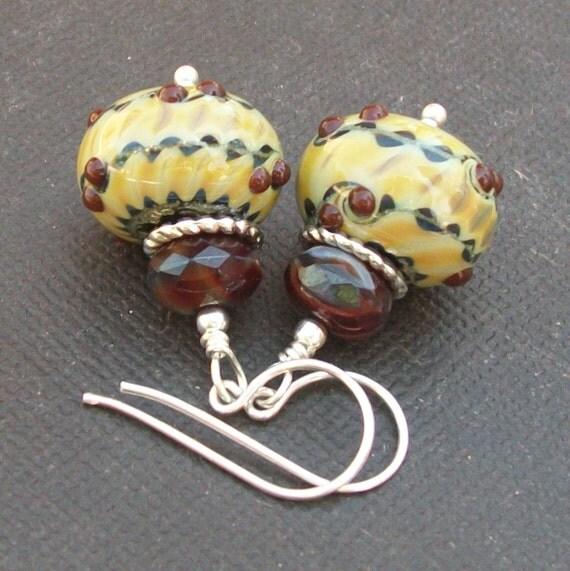 earrings artisan lampwork glass yellow red green bumpy beads-  ABQ