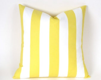 "Lemon Yellow and White Stripe INDOOR OUTDOOR Pillow Cover - 18"", 20"", 22"", 24"" Euro, 12 x 20"", 12 x 24"", 13 x 21"", Yellow Toss Pillow"