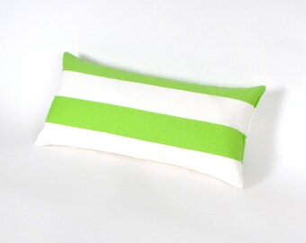 "Lime Green and White Canopy Stripe INDOOR OUTDOOR Pillow 8"" x 17"""