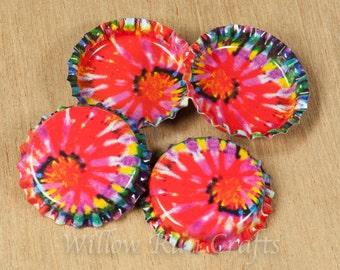 100 Tie Dye Bottle Caps (03-02-220)