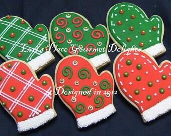 Christmas Mittens - 12 Cookies