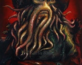 Portrait of Davy Jones from Pirates of the Caribbean Acrylic Painting