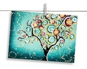 ACEO Print Turquoise Tree of Life Giclee Signed - Black Friday Etsy Cyber Monday Etsy