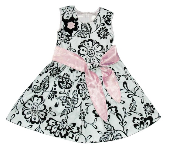 Holiday Dress Toddler Girl Black and white flowers pink ribbon flower girl dress high end fashion dress