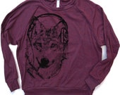 Womens WOLF (in Headphones) - Light Weight Tri-Blend Pullover - american apparel S M L (5 Colors Available)