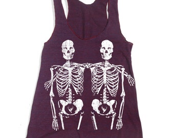 Women's SKELETONS -hand screen printed Tri-Blend Racerback Tank Top xs s m l xl xxl  (+Colors)