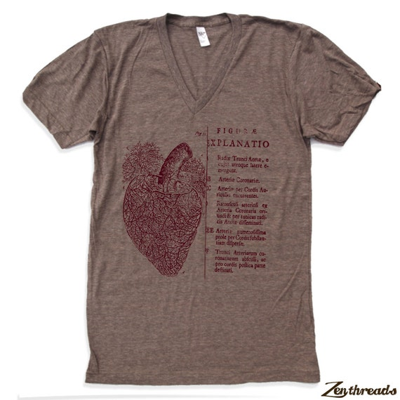 Unisex Anatomical HEART Tri Blend V Neck T Shirt american apparel XS  S  M  L (3 Color Options)