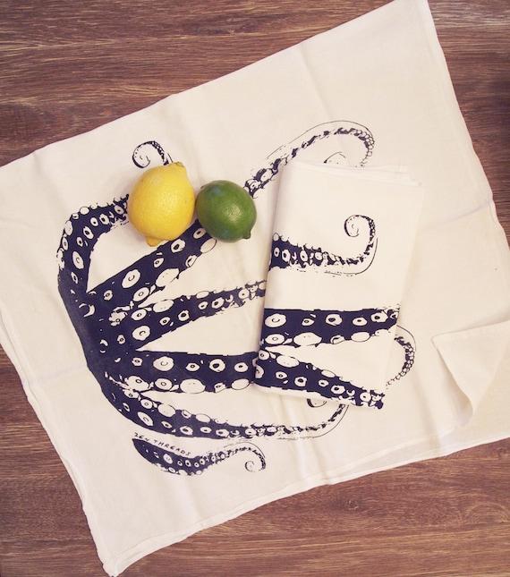 Set of 2- Navy OCTOPUS Tentacles - Multi-Purpose Flour Sack Bar Towels - Renewable Natural Cotton