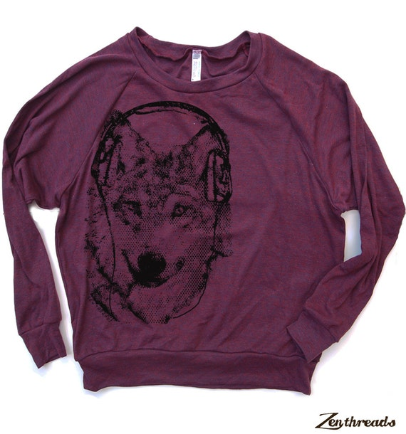 Womens WOLF (in Headphones) - Light Weight Tri-Blend Pullover - american apparel S M L (+ Colors Available)