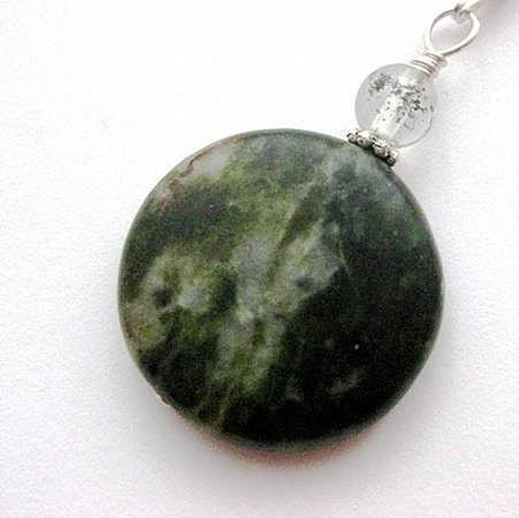 RESERVED without chain. Irish Connemara Marble Pendant. Dark Green Stone. Enchantment