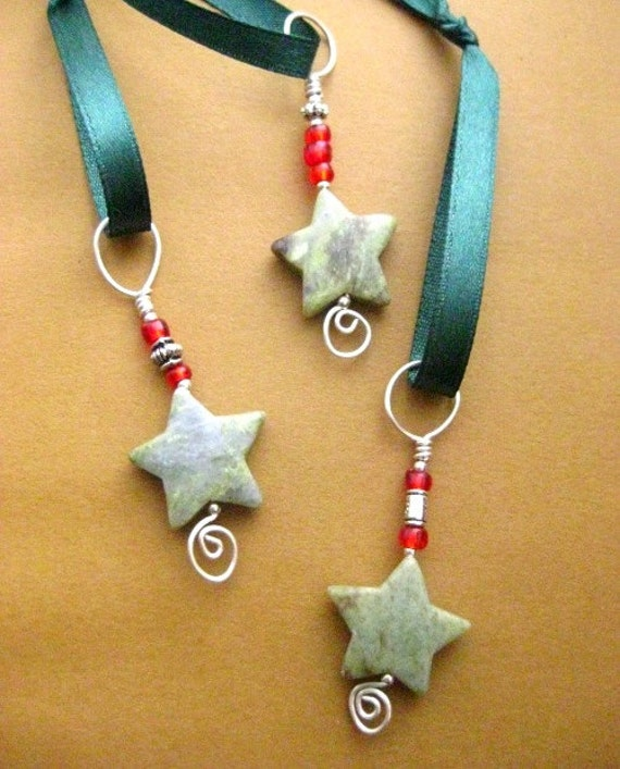 Irish Christmas Stars. Connemara Marble Set of 3 Ornaments. Tree Decorations from Ireland.