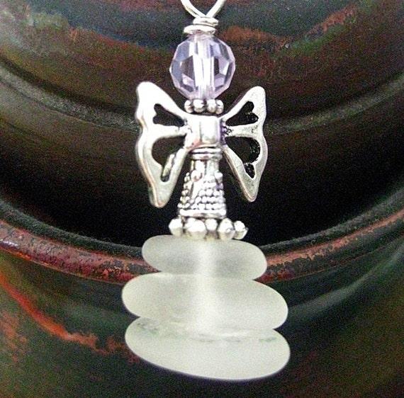 Seaglass Fairy Suncatcher, Christmas Ornament, Rear View Mirror Charm or Pendant