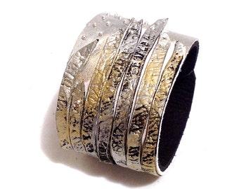 Metallic color leather cuff bracelet. Fashion bracelet. Leather jewelry