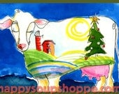 Vermont Cow Holiday Card Christmas Landscape Hand Painted