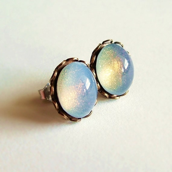 Olive Opal Earrings Vintage Domed Glass Cabochon Posts Hypoallergenic Nail Polish Jewelry