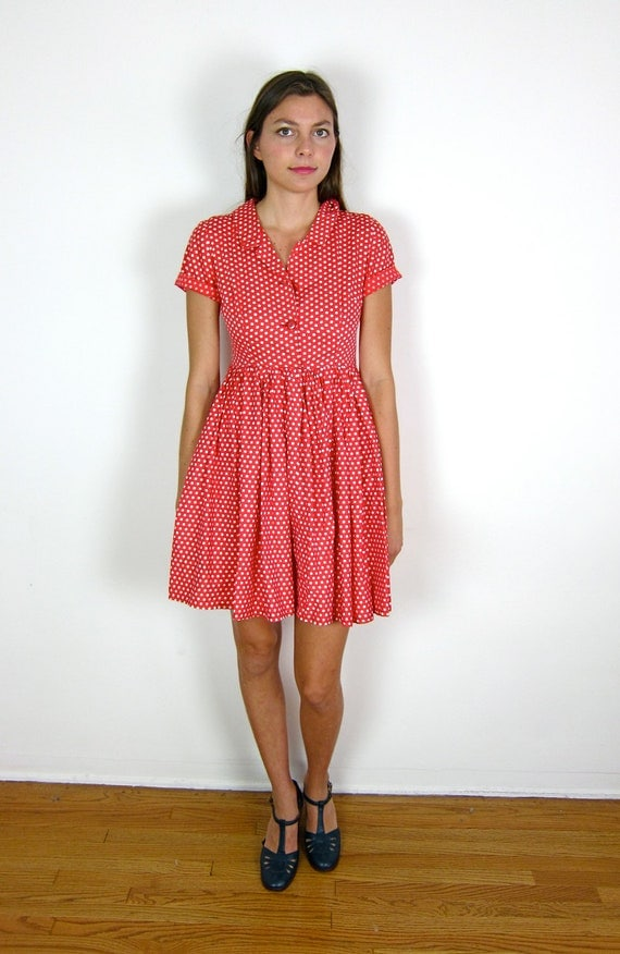 Red and White Polka Dot 50's Dress