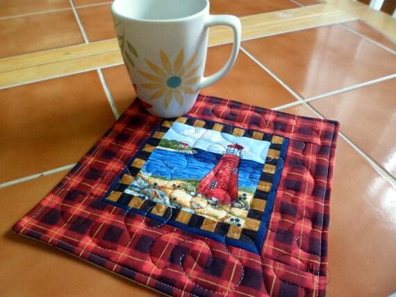 Lighthouse Fabric  - Mug Rug or Candle Mat  Oversized Coaster number 351