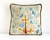 Vintage Embroidered Birds Pillow