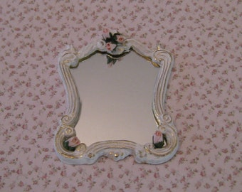 Miniature Mirror, tatty  chic white mirror, mirror, dollhouse mirror, twelfth scale miniature