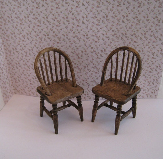 Two kitchen chairs, twelfth scale country, . a dollhouse mini