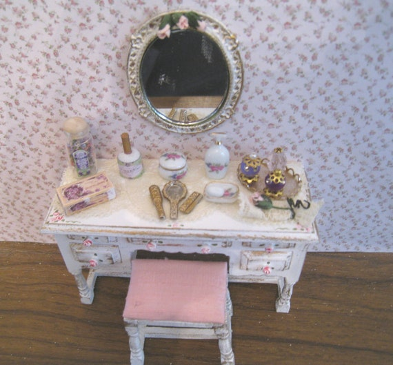 Shabby chic , dressed dressing table,stool,mirror, distressed white with rose bouquets,  Twelfth scale dollhouse miniature