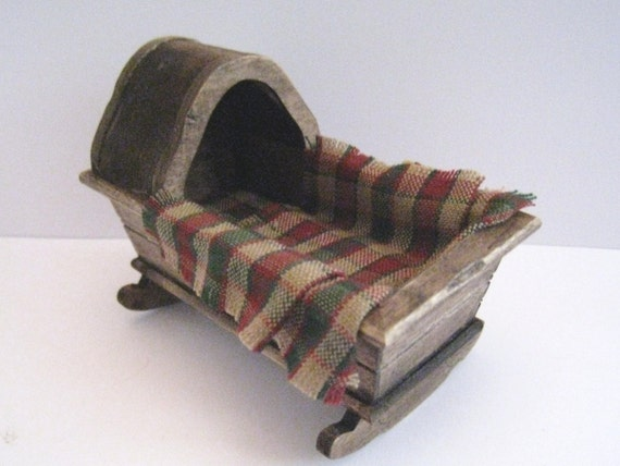 A cradle, country look, twelfth scale. a dollhouse mini