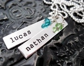 Personalized Necklace - Hand Stamped Jewelry - Rectangle Brags with Birthstones