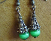 SALE - Emerald Green Cats Eye and Antiqued Brass Earrings