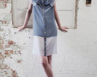 SAMPLE SALE Veronica Double Collar Silk Crepe and Organza Blue Dress