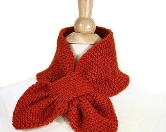 Orange knit scarf, orange keyhole scarf, knit keyhole scarf, knit ascot scarf, orange ascot scarf, unique scarf, knit neckwarmer