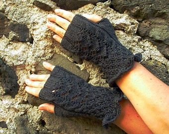 Cotton blend knitted mittens fingerless gloves hand warmers in jeans gray lace cable ruffle feminine