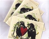 Made to Order Raven Pair note cards from hand carved art