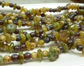 7mm to 4mm On The Vine Mixed Shapes and Sizes Picasso Czech Glass Beads 15 Inch Strand