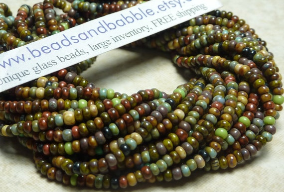 GORGEOUS 10/0 Opaque Indian Summer Color Mixed Picasso Firepolished Czech Glass Seed Bead Hank