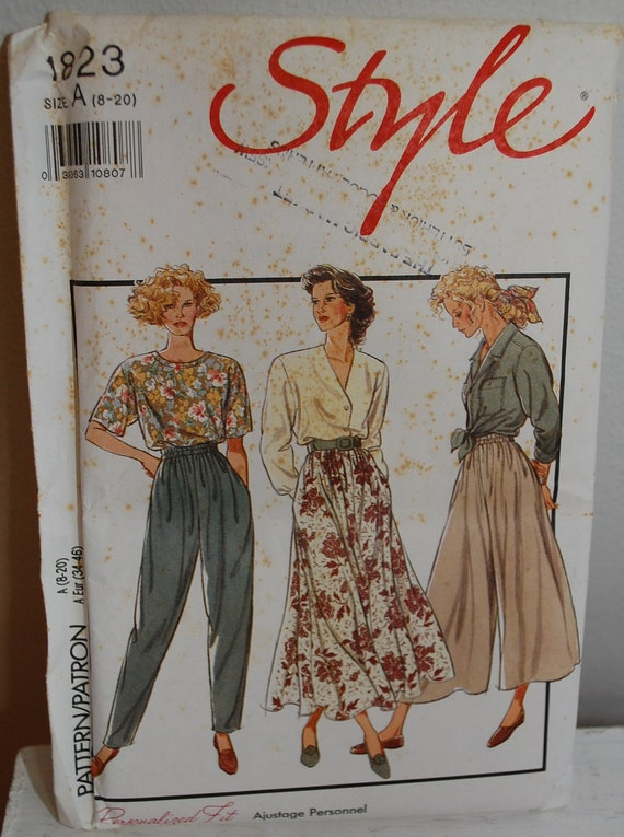 Vintage 1990s Women's Pull on Skirt Pants and Culottes Sewing Pattern Style 1823