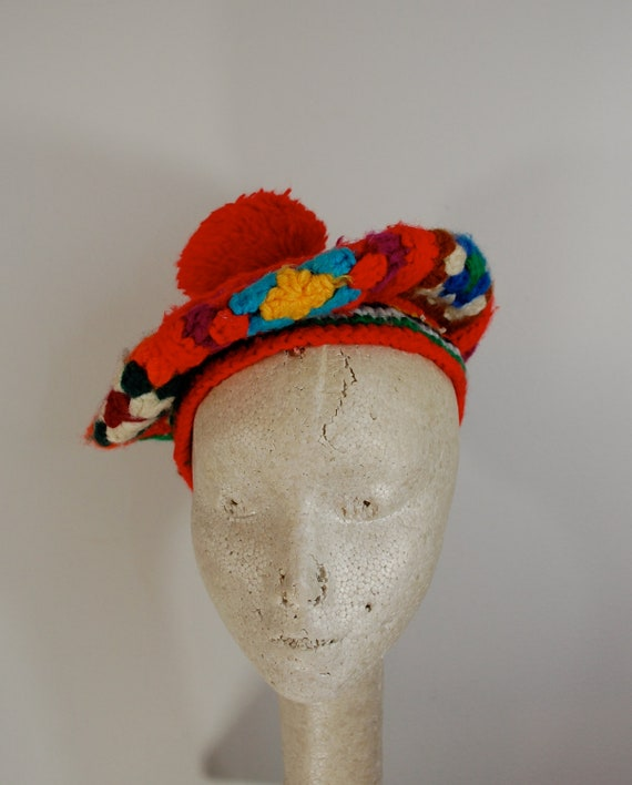 Vintage GRANNY SQUARE Knit Beret with POM Betmar New York