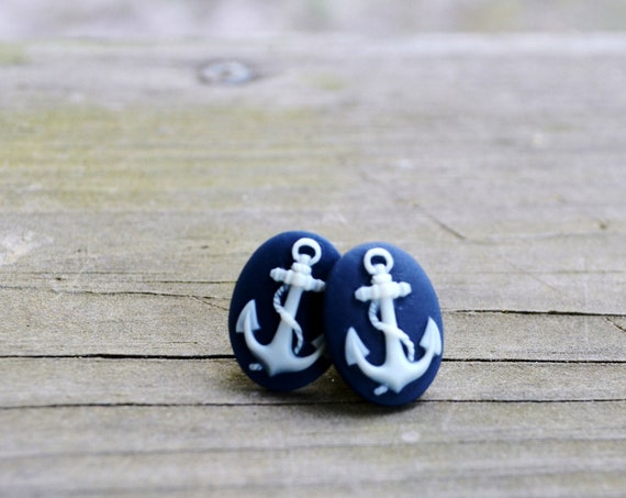 Anchor Earrings - Stud Earrings - Nautical - Navy Blue - Gifts Under 25