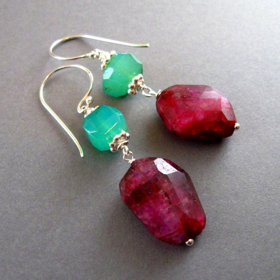 Peruvian Opal and Pink Moonstone Sterling Silver Earrings