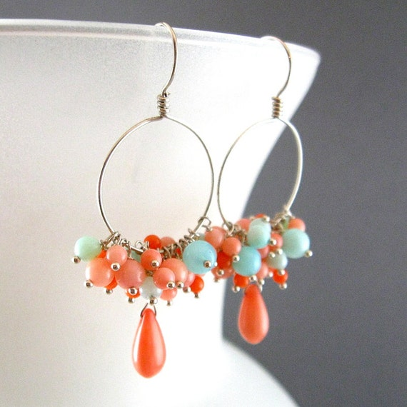 Pink Coral and Peruvian Blue Opal Sterling Earrings