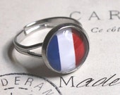 French flag ring tricoleur red white blue european French ring matching earring adjustable ring Paris fashion bijoux bague THREE for TWO R10 - acanthusjd