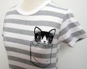 Heather Grey Striped Pocket Kitty Womens Short Sleeve Tee