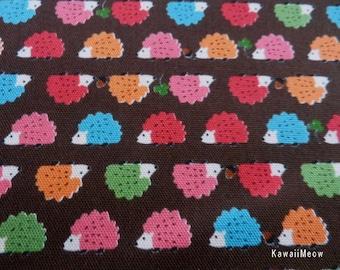 Kawaii Japanese Fabric - Baby Hedgehog on Brown x Colorful - Half Yard (i130620)