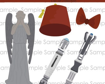 Clipart, Doctor Who, Sonic Screw Driver,  INSTANT DOWNLOAD,  Digital, clip art , digital, scrapbooking , Weeping Angel, Fez, Bow tie